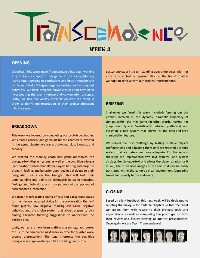 Transcendence Newsletter Week 3