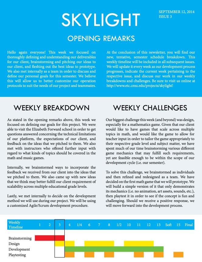 Skylight Week 3 Newsletter